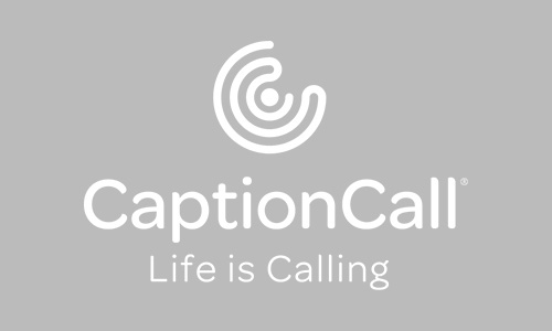 CaptionCall Logo Vertical Tagline White